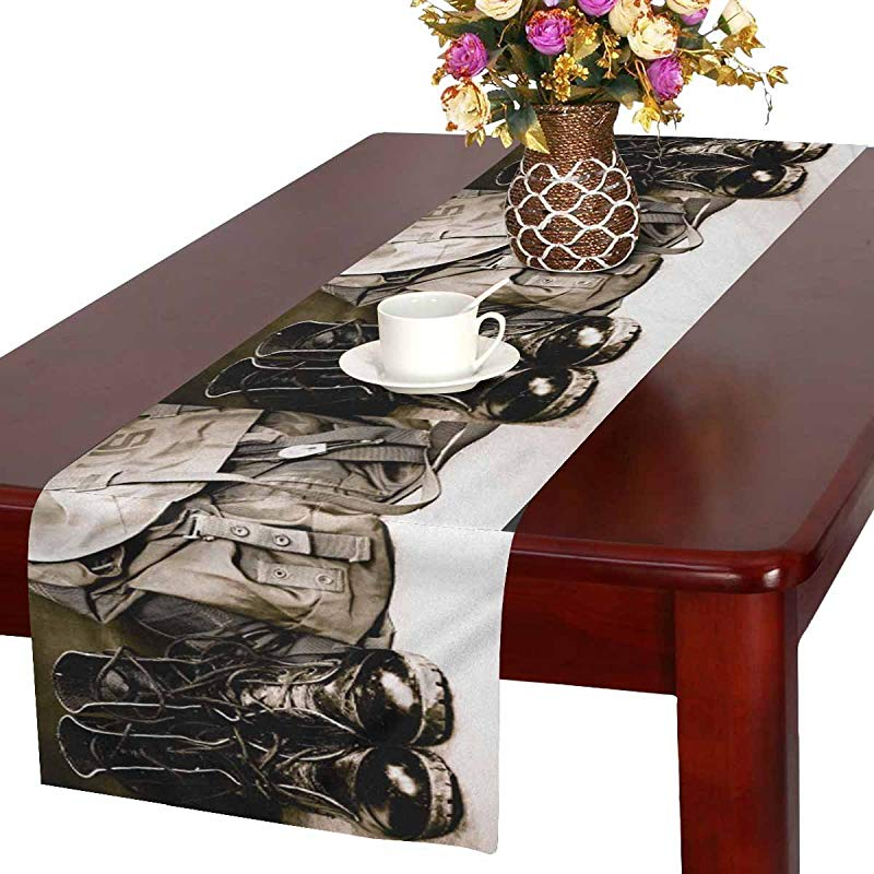 InterestPrint Cool Black Leather Army Boots And Army Bag Soldier Table Runner Cotton Linen Cloth Placemat For Office Kitchen Dining Wedding Party Banquet 16 X 72 Inches
