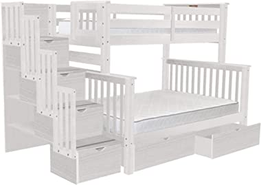 Bedz King BK961-Brushed-White-Drawers Bunk Bed, Twin Over Full, Brushed White