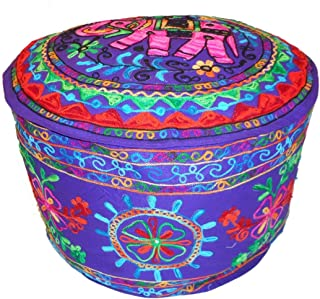 India colors Puff cojín Funda Bordado Artesanal Hecho a Mano en India. (Violeta)