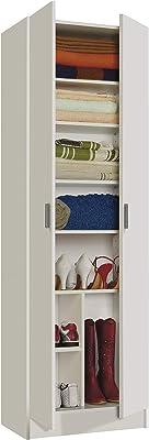 Habitdesign 007146O - Armario Zapatero Multiusos, Armario Auxiliar Color Blanco, Dimensiones 59 cm (Largo) x 180 cm (Alto) x 37 cm (Fondo): Amazon.es: Hogar
