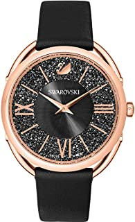 Swarovski Women's Crystalline 35mm Black Leather Band Steel Case Quartz Grey Dial Analog Watch 5452452