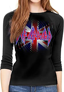 Def Leppard Union Jack Women Baseball T-Shirt 3/4 Sleeve Raglan Softball Tee Tops