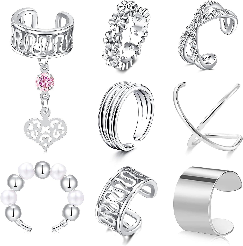 JFORYOU Ear Cuff for Women Clip On Cuff Earrings Helix Cartilage Wrap Earrings Non-Piercing Adjustable Ear Cuffs Earrings
