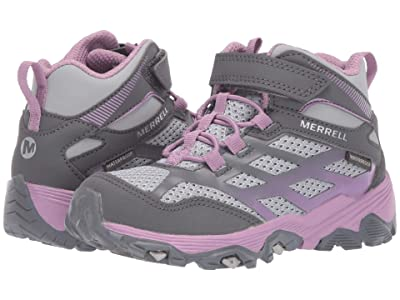 Merrell Kids Moab FST Mid A/C Waterproof (Little Kid/Big Kid) (Grey/Purple) Girls Shoes