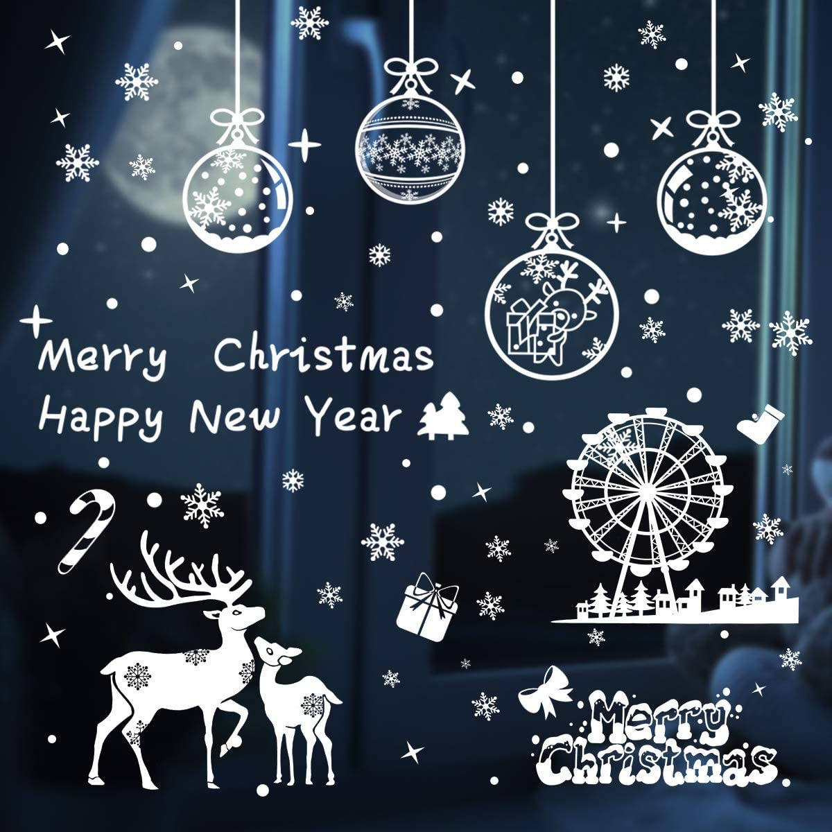 Max New arrival 45% OFF Christmas Window Clings Decorations Snowflake Decals White Windo