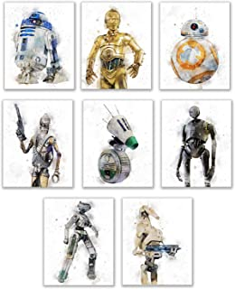 Star Wars Droids Prints - Set of 6 (8 inches x 10 inches) Watercolor Wall Decor Photos - R2D2 C3PO BB8 K-2SO BB-9E Battle ...