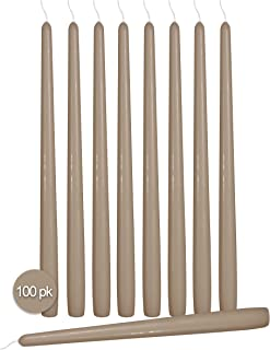 Ner Mitzvah 100 Pack Tall Taper Candles - 12 Inch Taupe Dripless, Unscented Dinner Candle - Paraffin Wax with Cotton Wicks - 10 Hour Burn Time