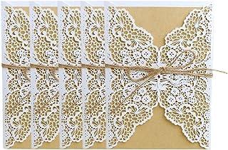 cumplea/ños 10 tarjetas de invitaci/ón para boda con banda de sobres para novia Wanghuaner color BL 18x12.5cm//7.09x4.92in compromiso