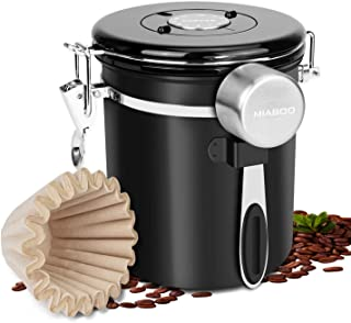 Coffee Container Stainless Steel Food Storage Canister, Airtight Seal and CO2 Valve Filter with Scoop adn Basket Filter Paper, Extra Date Wheel for Freshness Tracking (Black, 16 oz)