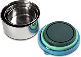 MIRA Stainless Steel Lunch Box Food Storage Containers | BPA Free, Eco-Friendly & Reusable Snack Food Nesting Containers for Kids & Adults | Set of 3 (Blue/Emerald/Teal)