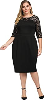 Women's Plus Size Stretch Sheath Dress with Floral Lace Top - Knee Length Work Casual Party Cocktail Dress