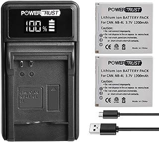 PowerTrust - Batería para Canon IXUS 30 40 50 55 60 65 80 100 I20 110 115 120 130 IS 117 220 225 230 255 H (2 unidades)