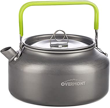 Overmont Camping Kettle Camp Tea Coffee Pot Aluminum 27/42 FL OZ Outdoor Hiking Gear Portable Teapot Lightweight with Silicon