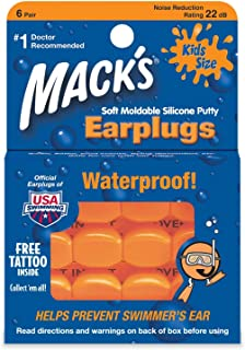 KKmoon MACK'S 6 Pairs Anti-noise Silicone Earplugs Professional Bathing Waterproof Swimming Earplugs Anti-firecracker Soundproof Hearing Protection Anti Snore Ear Plugs for Children Baby