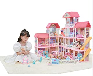 AvoKlan Doll House Dream House Building Toys Figure Furniture Accessories for Toddlers, Boys & Girls ,DIY kit with LED Lig...