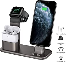Mercae Compatible for Charging Station Apple 3 in 1 Aluminum Stand for Apple Watch/iPhone and Airpods Pro,Charger Stand Dock Station for Apple iWatch Series 1/2/3/4/5/iPhone 11/11 Pro/Pro MAX