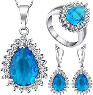 VPbao Plated 925 Sterling Silver CZ Drop Necklace Earrings Ring Jewellery Sets Blue