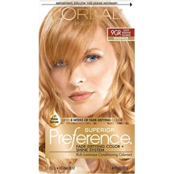 L'Oreal Paris Superior Preference Fade-Defying + Shine Permanent Hair Color, 9GR Light Golden Reddish Blonde, Pack of 1, Hair Dye