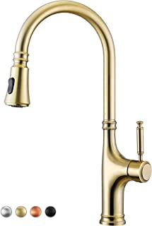 """Primy Kitchen Faucets with Pull Down Sprayer, Modern Lead-Free Single Handle High-Arc Kitchen Sink Faucet With Deck Plate, Height 19-51/64"""", Luxurious PVD Vibrant Champagne Gold Finished, 2117"""