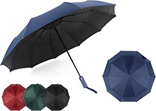 Bayso Windproof Folding Travel-Umbrella Rain&Sun Protection with Black Glue Anti UV Coating Auto Open & Close Button (Navy)
