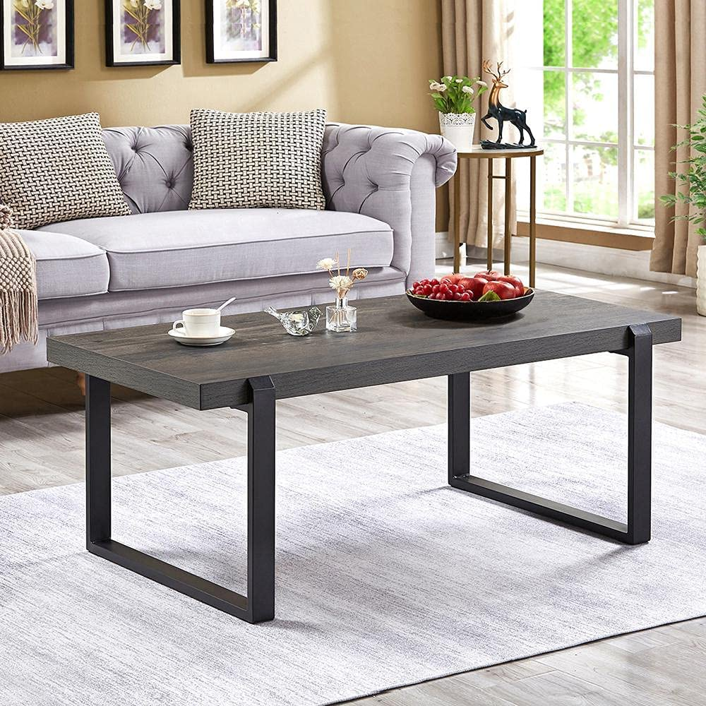 EXCEFUR sale Industrial Clearance SALE! Limited time! Coffee Table Rustic Center Ta Metal Wood and