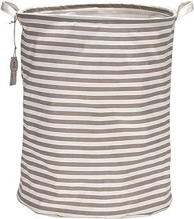Sea Team 19.7 Inches Large Sized Waterproof Coating Ramie Cotton Fabric Folding Laundry Hamper Bucket Cylindric Burlap Canvas Storage Basket (19.7