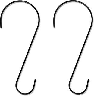 Gray Bunny GB-6812 Metal Tree Branch Hook, 12 Inch, Black, 2-Pack, Premium Extra Thick 1/5 Inch Diameter Rust Resistant Steel S-Hooks for Bird Feeders and Baths, Planters, and More