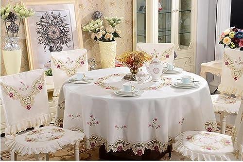 Nappe Nappe Chaise Couverture Tissu Broderie de style européen Tissu de table Nappe Table Chaises de table Ensemble de coussin de chaise nappe (taille   16 )