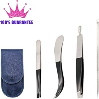 Precision Tweezers Set 4pcs, Slant, Flat, Pointed Tweezers for Eyebrows and Acne Needle, Craft Tweezers with leather travel Case, Ideal for Lash, Facial Hair, Splinters, Ingrown Hairs, Blackheads