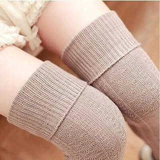 ZhiGe Mujer Calcetines hasta la Rodilla,3 Pares de Calcetines de algodón áspero Aguja volteen la Rodilla Medias Mujer Alta y Calcetines Finos