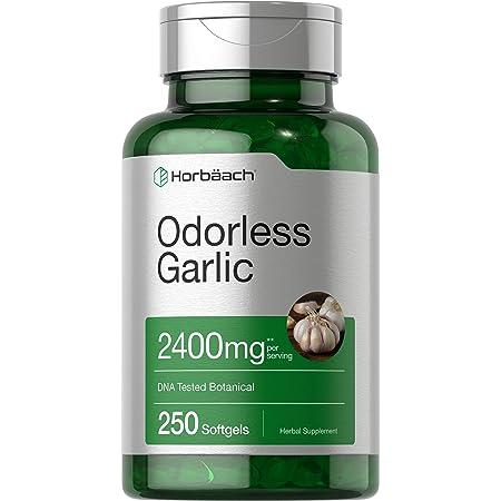 Odorless Garlic Softgels | 2400 mg | 250 Count | Ultra Potent Garlic Extract | Non-GMO & Gluten Free Pills | by Horbaach