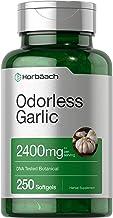 Odorless Garlic Softgels   2400 mg   250 Count   Ultra Potent Garlic Extract   Non-GMO & Gluten Free Pills   by Horbaach