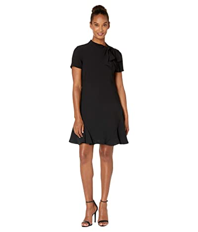 CeCe Short Sleeve A-Line Dress with Bow (Rich Black) Women