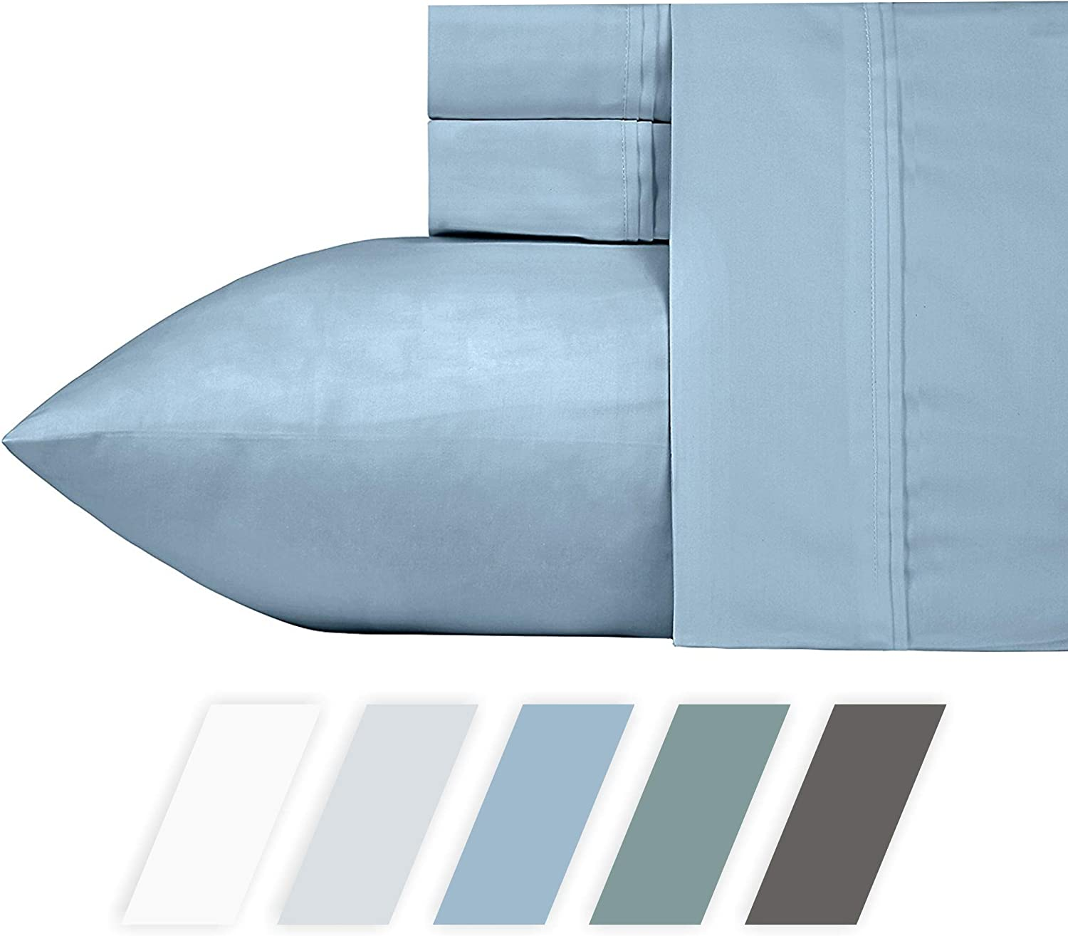 """California Design Den 700-Thread-Count 4-Piece King Size All Season Essential Cotton Blend Sheet Set in Morning bluee - Fits Upto 18"""" Deep Pocket, Silky Sateen Weave, Poly-Cotton Sheets and Pillowcases"""
