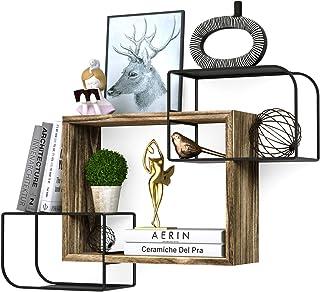 Minggoo キューブ壁棚セット 交差するフローティングシェルフ オフィス リビングルーム 寝室装飾 耐久性 取り付け簡単 トーチウッド