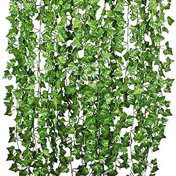 DearHouse 12 Strands Artificial Ivy Leaf Plants Vine Hanging Garland Fake Foliage Flowers Home Kitchen Garden Office Wedding Wall Decor 84 Feet Green
