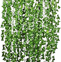 DearHouse 12 Strands Artificial Ivy Leaf Plants Vine Hanging Garland Fake Foliage Flowers Home Kitchen Garden Office Wedding Wall Decor, 84 Feet, Green