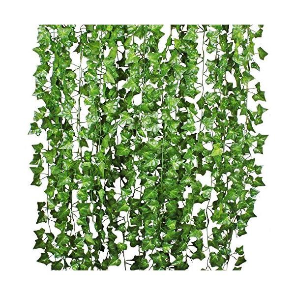Attvn Hojas de Hiedra Guirnalda de Plantas Artificiales – 12 Pack 84 Ft Garland de Hiedra Artificial follaje Verde Deja…