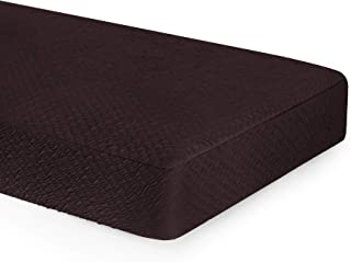 TOYABR Jacquard Seersucker Cushion Slipcovers Spandex Stretch Fabric Sofa Couch Cushion Covers Furniture Protector with Elastic(Loveseat Cushion, Chocolate)