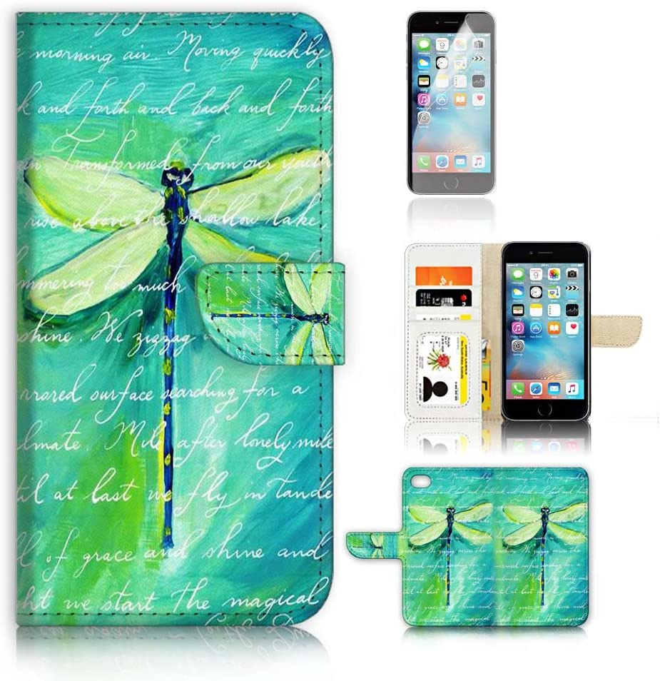 ( For iPhone 6 6S 4.7') Flip Wallet Case Cover and Screen Protector Bundle A4215 Dragonfly