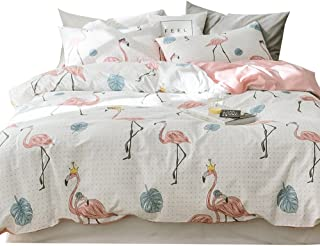 OTOB Children Cartoon Flamingo Dot Flower Bed Duvet Cover Set Twin Cotton 100 for Girls Kids Baby Toddler Crib 3 Piece Bird Floral Teen Bedding Sets with 1 Comforter Cover 2 Pillowcases Pink White
