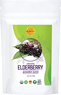 Yakee Certified Organic Elderberry Juice Powder, 3,5 Ounce, USDA Certified - 100% , GF and Safe Supports Energy and Immune...