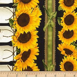 Timeless Treasures Farm Sunflower Border Stripe, Yard, Black