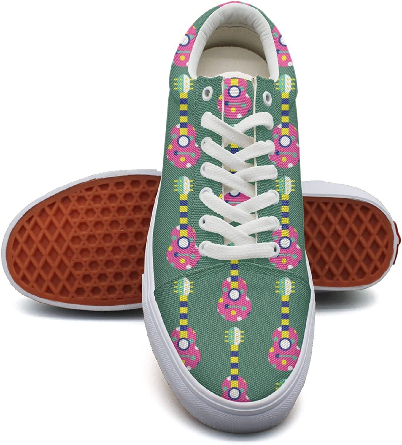 Guitar Green Womens Printed Canvas Running shoes Low Top Retro Sneakers shoes for Woman