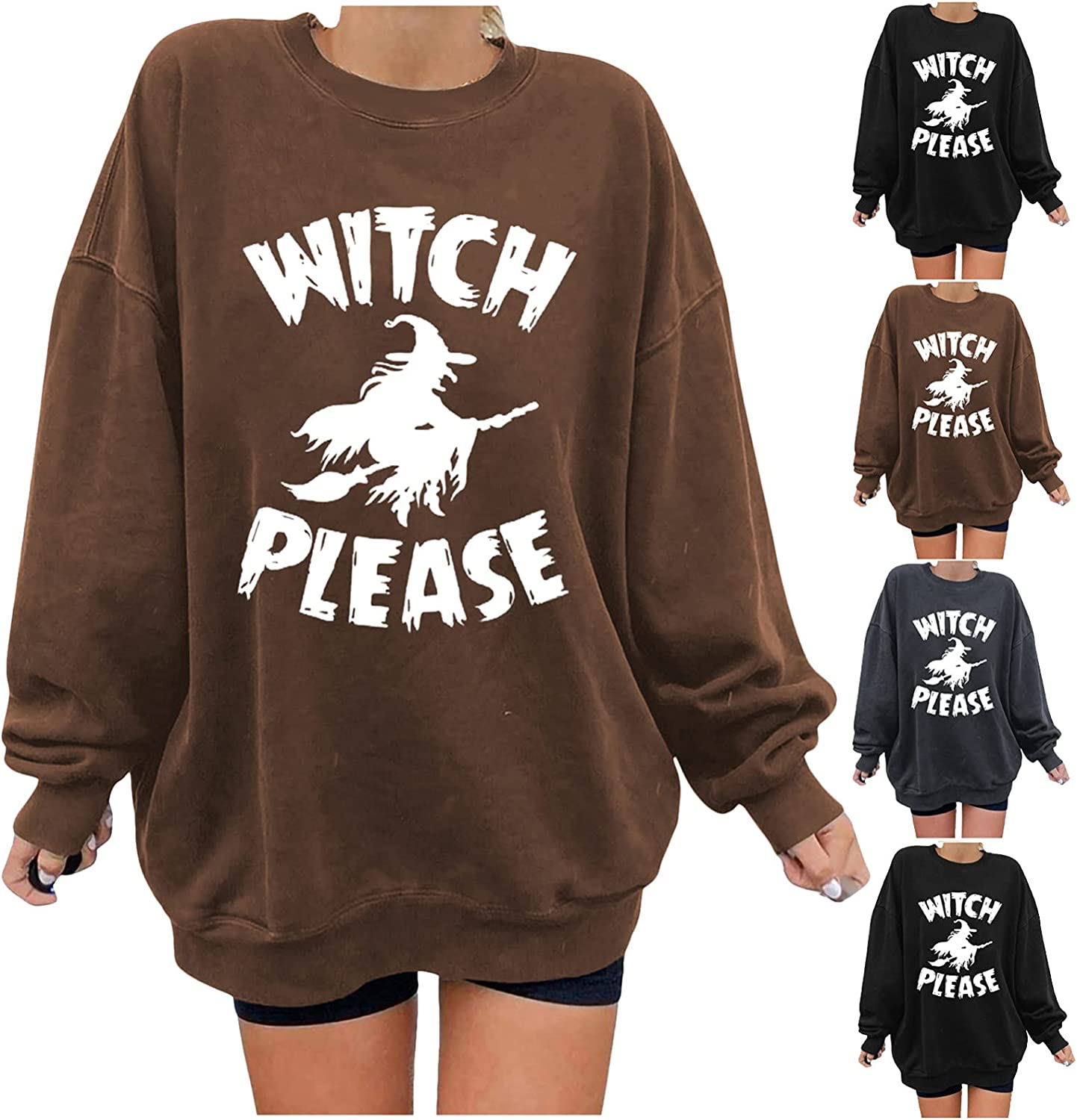 Lingbing Halloween Costumes for Women Casual Crewneck Sweatshirts Funny Witch Graphic Tops Fall Fleece Oversized Blouses