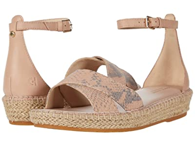 Cole Haan Cloudfeel Espadrille Ankle Strap Sandal (Mahogany Rose Chalk Python Print Leather/Tonal Leather) Women
