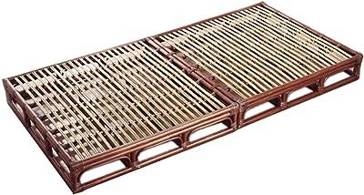 今枝ラタン ベッドフレーム ブラウン 幅100×奥行200×高さ18cm スノコベッド(セパレート組立式) W-009D