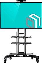 "ONKRON Mobile TV Stand TV Cart with Wheels & 2 AV Shelves for 32"" – 65 inch LCD LED OLED Flat Panel Plasma Screens up to 100 lbs Black TS1552"