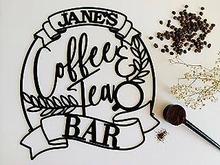 Personnalisé café et le thé de signe en métal de cuisine, Barre Accessoires et décoration murale, Idée de Cadeau pour Les ...