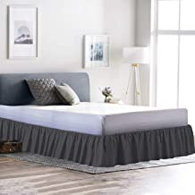 Linenwala Ruffled Bed Skirt (Full XL, Dove Grey) 14 Inch Drop Dust Ruffle with Platform, Wrinkle and Fade Resistant (Available in All Bed Sizes and 16 Colors)